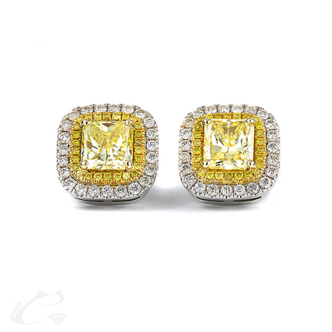 Canary Yellow Cushion Diamond Earrings