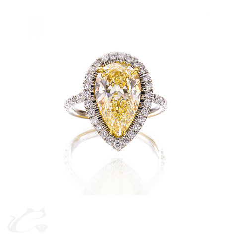Canary Yellow Pear Diamond Engagement Ring