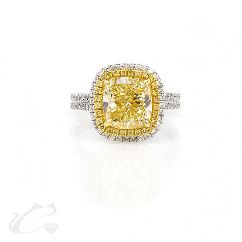 Platinum Canary Yellow Diamond Halo Ring