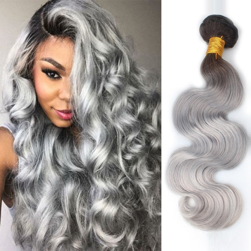Extensions De Cheveux Naturels A Tissage Tie Dye Shade Of Grey