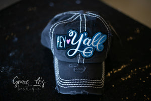 Grey Vintage Distressed Hey Y'all