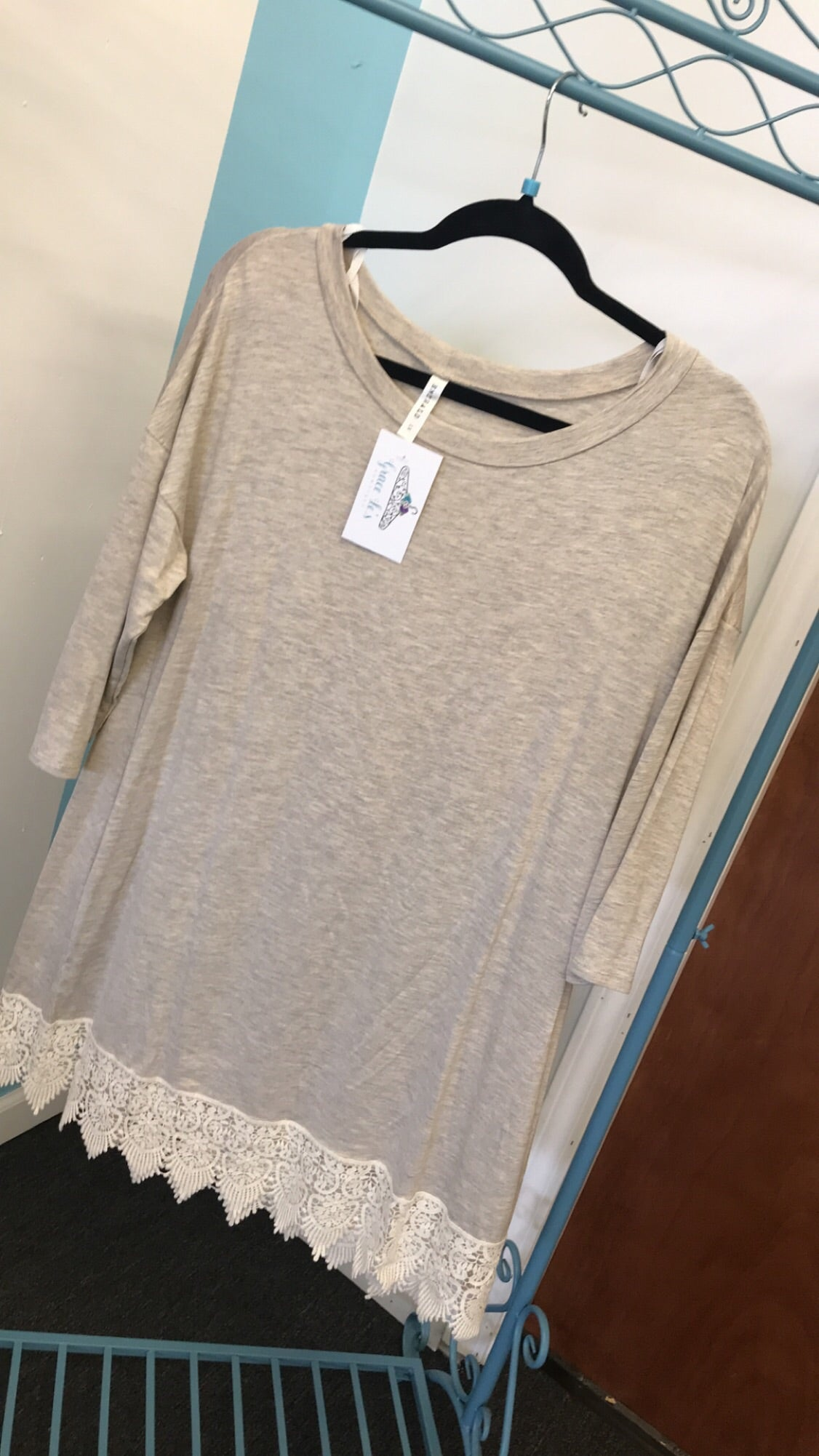 PLUS Oat Bottom Lace Tunic Dress
