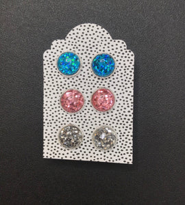 Glitter Blue, Pink, and Silver Studs