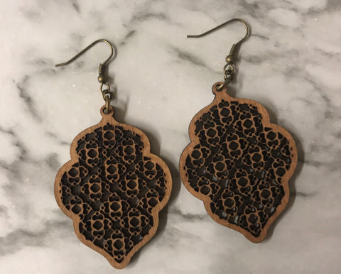 Lacey Wooden Earring