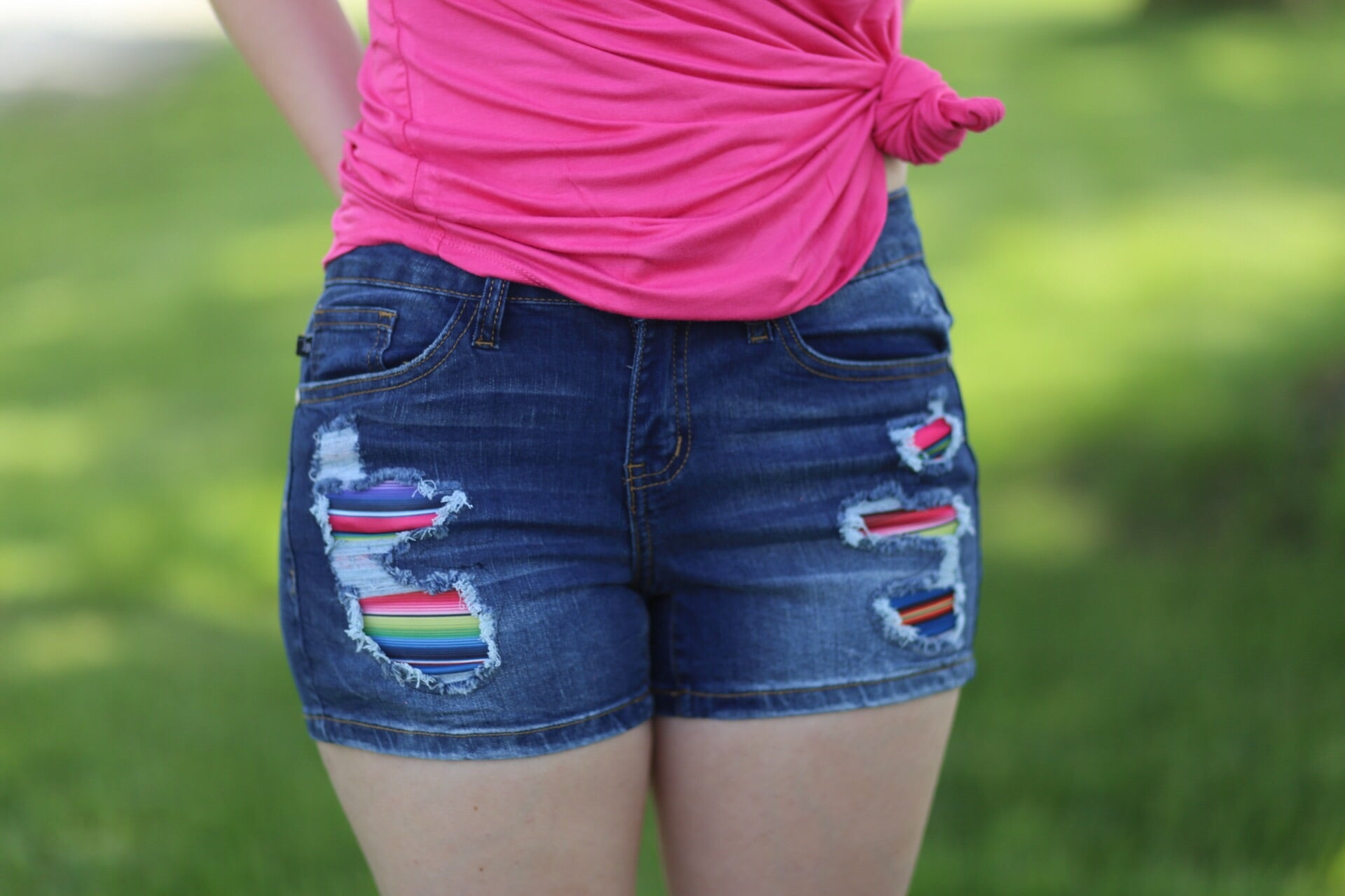 Serape patch shorts
