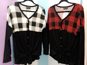 Buffalo Plaid Tie Top