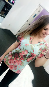 Mint Floral with Ladder Cutout Back