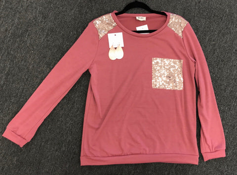 Pink Pull Over with Sequins Shoulder and Pocket