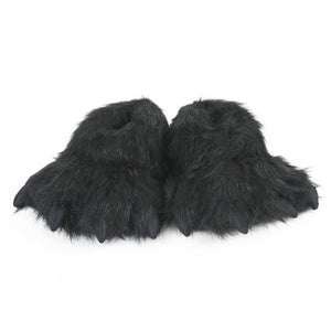 Kids Black Bear Paw Slippers