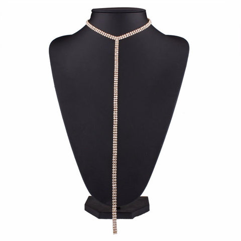 Image of Long Tassel Rhinestone Choker