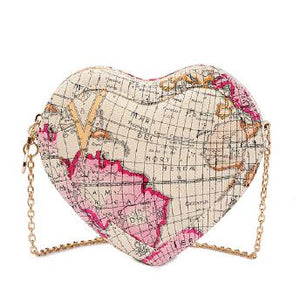 Heart Shaped Map Shoulder Bag