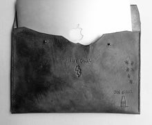 This custom tattoo leather laptop case will protect & flatter any size laptop Made with 100% vegetable tanned leather that is all hand tooled & carved Made in USA