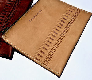 Our coolest custom leather bohemian zipper bag clutch in natural color