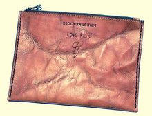 Cool genuine leather zipper bag clutch with motorcycle tattoos
