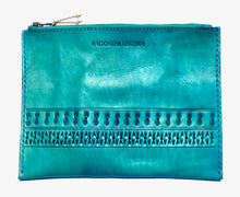 Cool turquoise custom bohemian leather zipper bag clutch