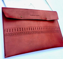 This hand crafted deep red custom boho leather laptop case will protect & flatter any size laptop