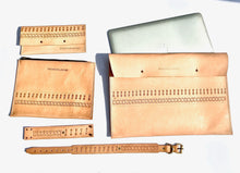 This cool custom leather collection of leather laptop case, custom leather bag, leather wallet and wrist cuff