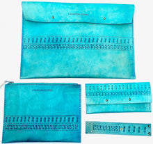 This full collection of turquoise boho custom leather accessories include a leather laptop sleeve, boho leather wallet, custom leather zipper pouch and leather wrist cuff.