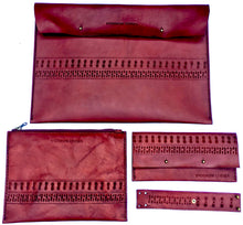 This sexy full collection of deep red boho custom leather accessories include a leather laptop sleeve, boho leather wallet, custom leather zipper pouch and leather wrist cuff.
