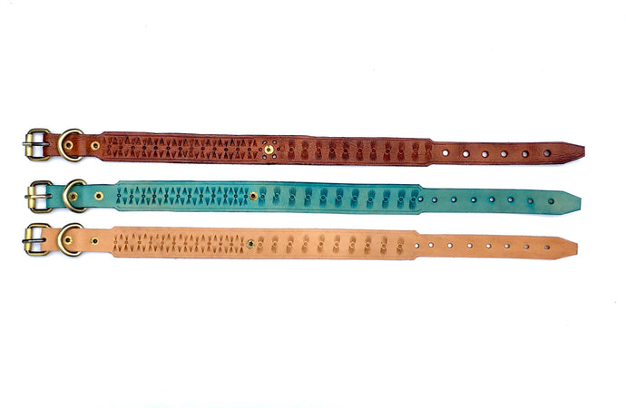 Our boho leather dog collar collection features hand stamped bohemian patterns