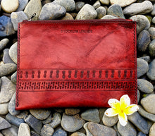 Custom red boho zipper bag clutch with leather tooled pattern