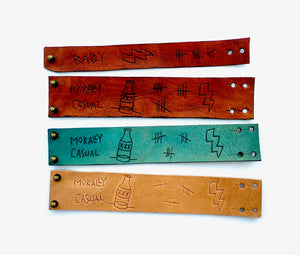 Our collection of custom tattoo leather wrist cuffs in original colors
