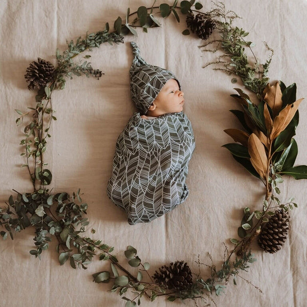 Snuggle Swaddle & Topknot Set - Tribal