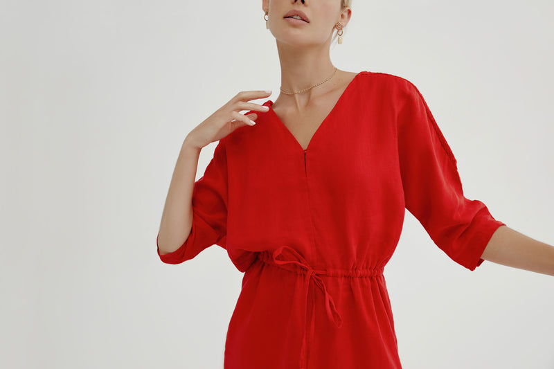 Gretta Dress in Red Linen
