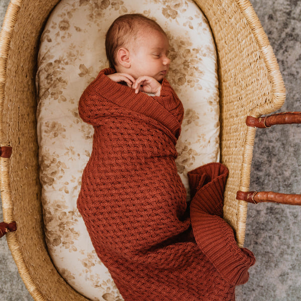 Diamond Knit Baby Blanket - Umber