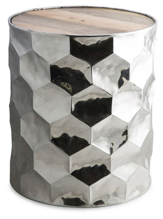 Hex Hammered Side Table