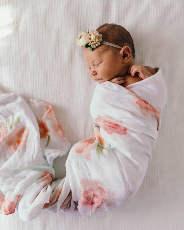 Organic Muslin Wrap - Sorbet Bloom