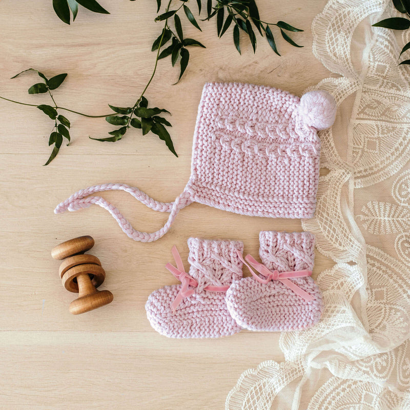 Merino Wool Bonnet & Booties Set - Pink