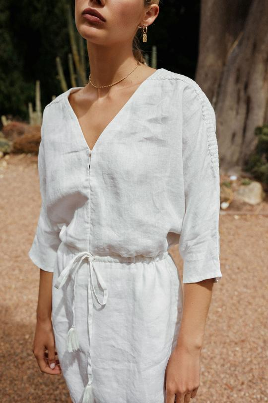 Gretta Dress in White Linen