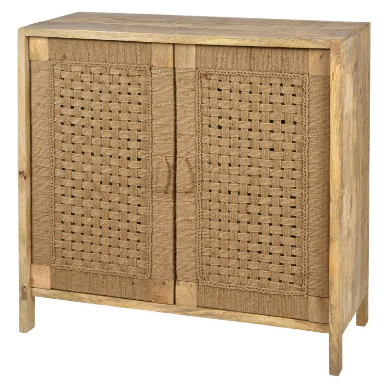 Arizona Handmade Mango Wood & Jute 2 Door Side Cabinet