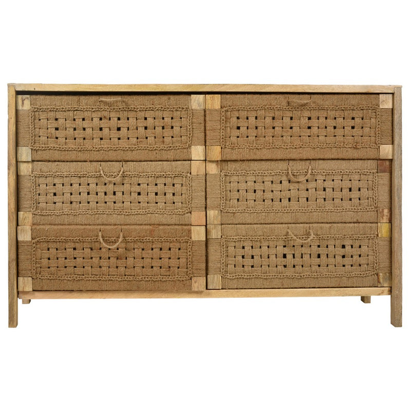 Arizona Handmade Mango Wood & Jute 6 Drawer Dresser