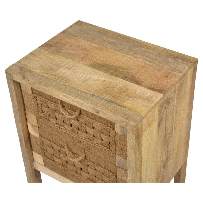 Arizona Handmade Mango Wood & Jute 2 Drawer Side Table