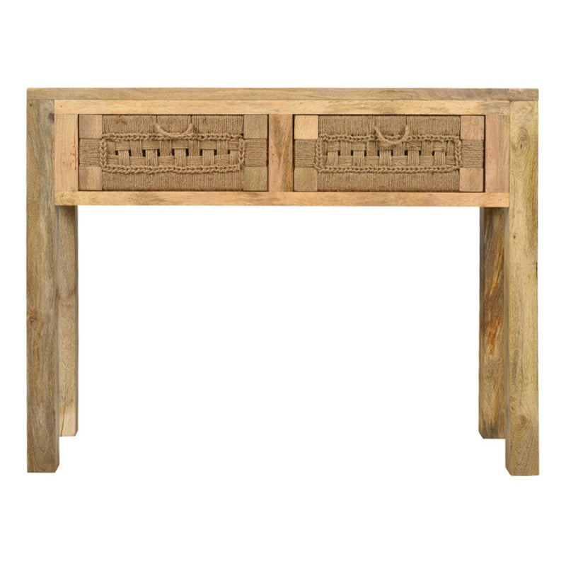 Arizona Handmade Mango Wood & Jute 2 Drawer Console Table