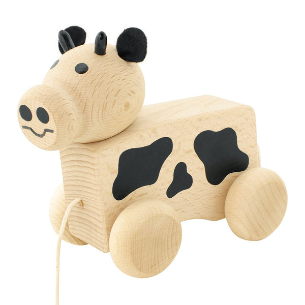 Wooden Pull Along Cow