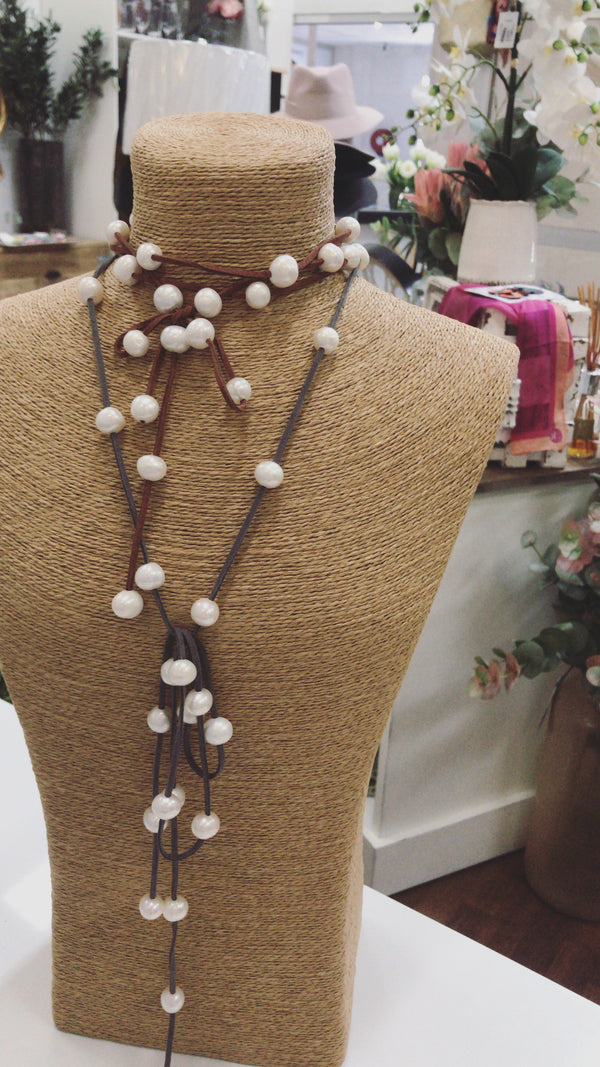 Greta Pearl Lariat Necklace