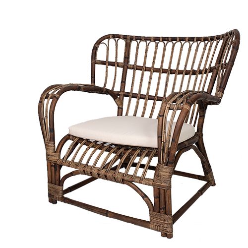 Antique Brown Rattan Arm Chair