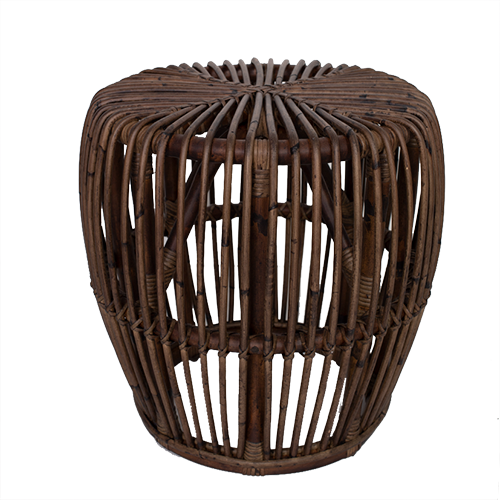 Antique Brown Rattan Side Table