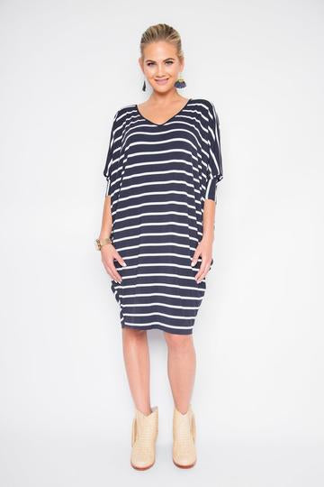 Long Sleeve Miracle Dress in Navy Stripe