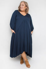 LONG SLEEVE PEAK MAXI DRESS IN NAVY