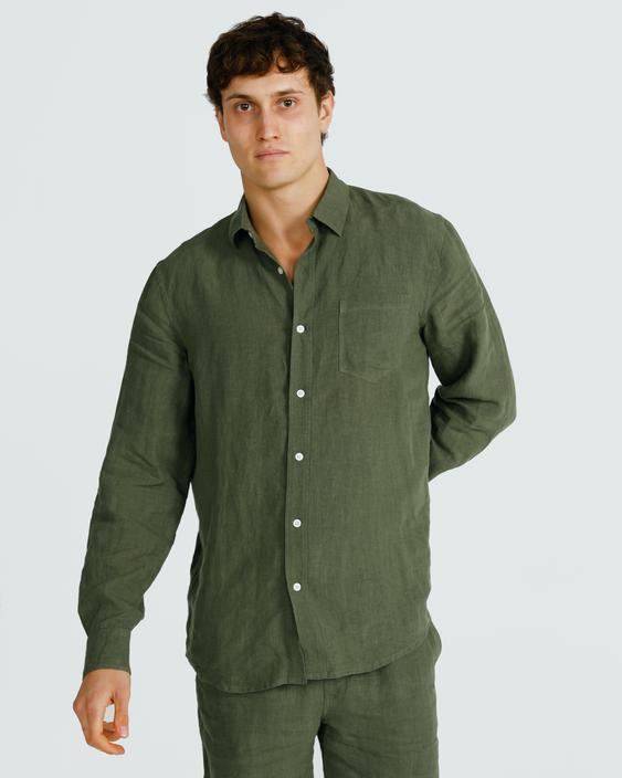 Men's Linen Shirt Green