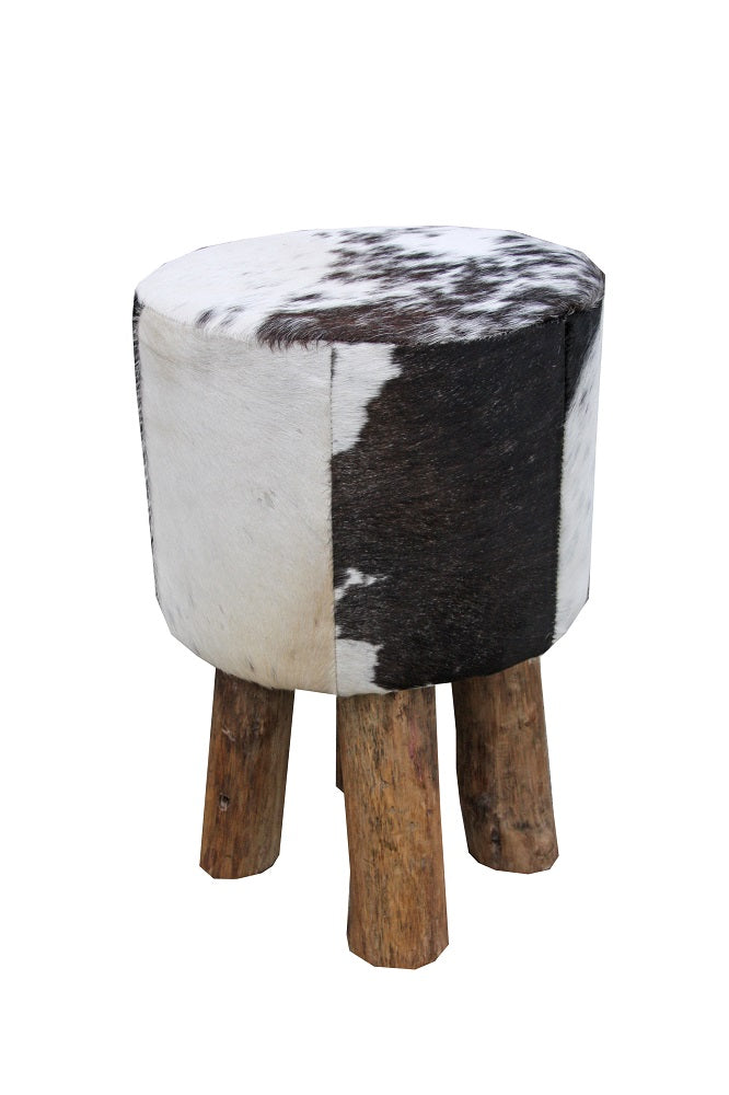 Doris Cowhide Stool Black & White