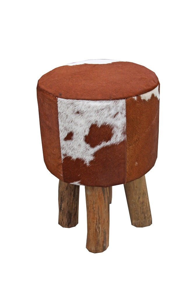 Doris Cowhide Stool Brown & White