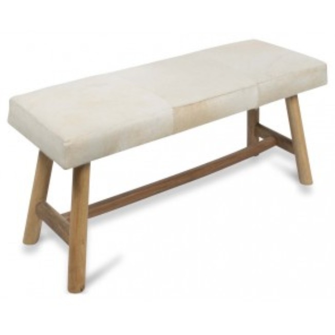 Cowhide Two Seater Bench Seat