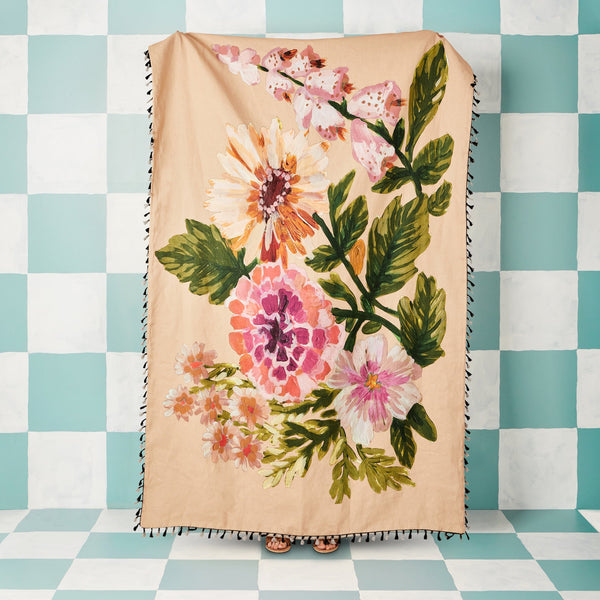 Linen Throw - Pale Foxglove