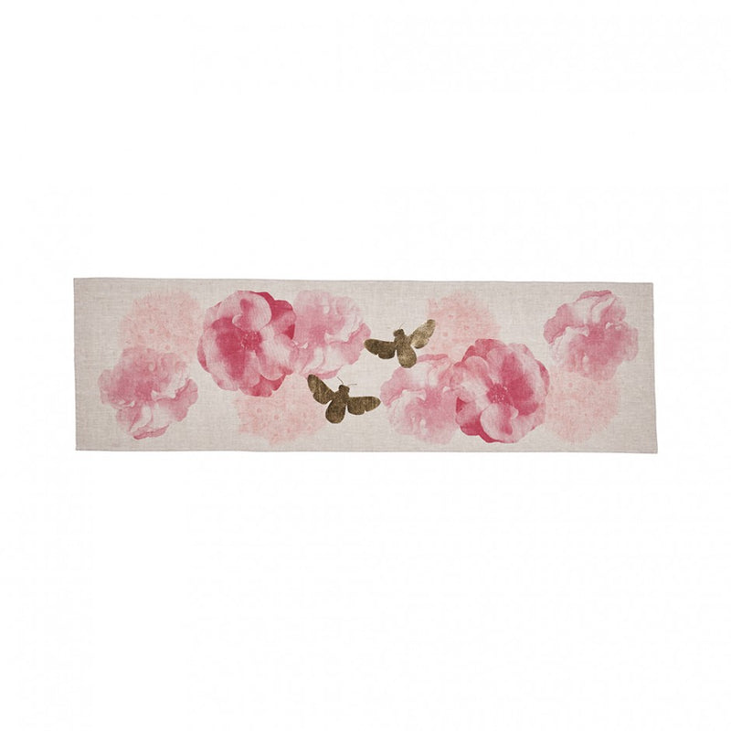 Roses & Bees Table Runner Pink Gold