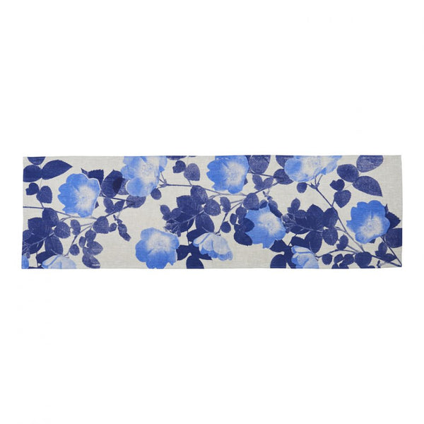 Climbing Rose Table Runner Blue
